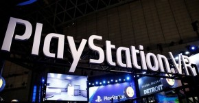 The logo of Sony PlayStation VR is seen at Tokyo Game Show 2017 in Chiba